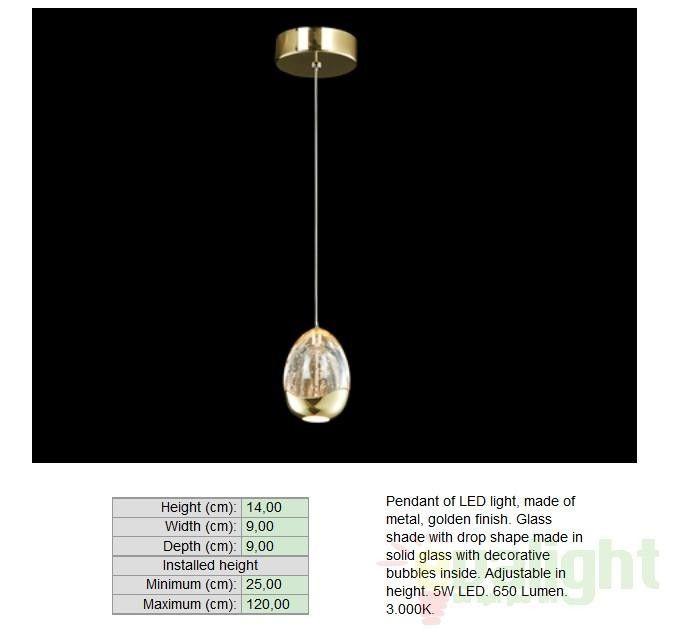 Pendul modern LED diametru 9cm ROCIO auriu 784347 - Corpuri de iluminat, lustre, aplice