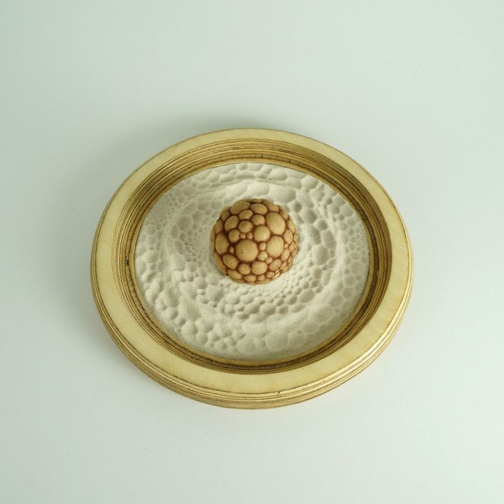 Circular Sand Tray With Patterned Cement Ball. A Little Zen Garden That  Fits On Your