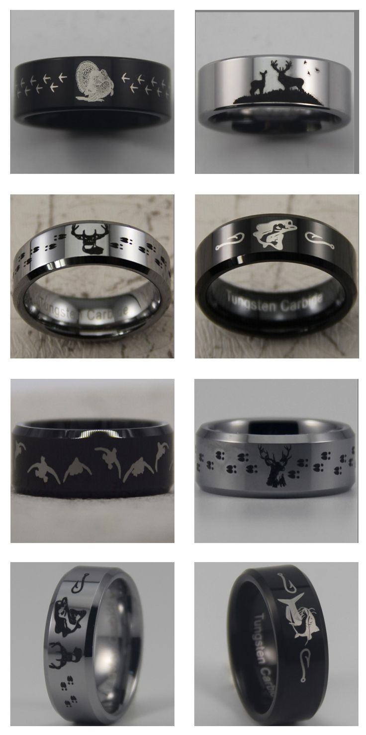 Hunting + outdoor themed tungsten carbide rings.  Turkey, catfish, bass, deer, elk, ducks and more! Show off your love for fishing and hunting with one of our high quality rings!