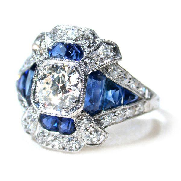Art Deco Sapphire & Diamond Platinum Ring - The Three Graces ❤ liked on Polyvore