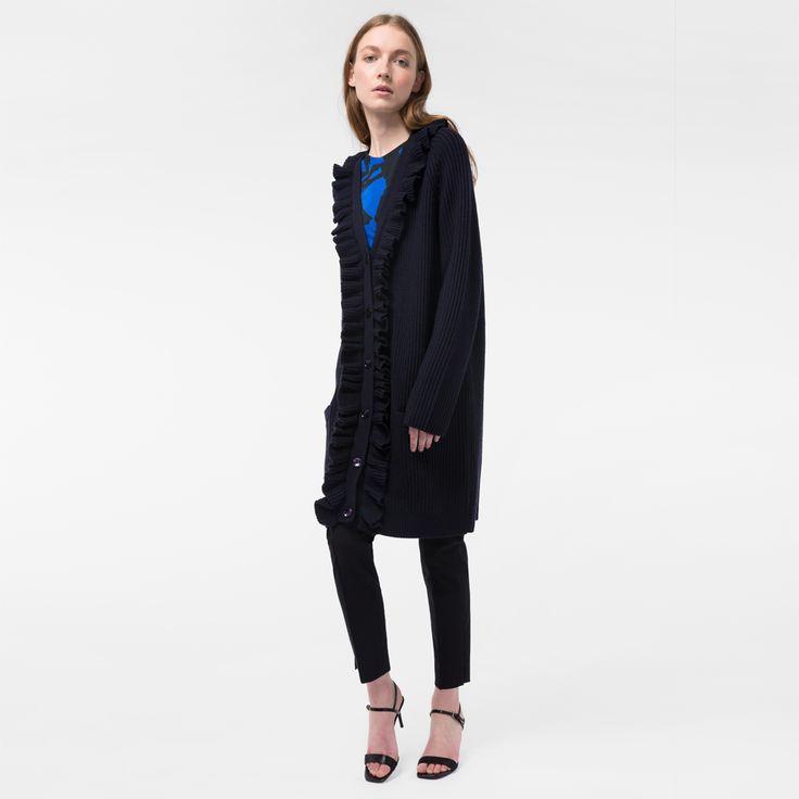 paul smith bag shop uk, Paul Smith Womens Navy Long Wool Cardigan With Frill Placket Pspp-142K-754-N, paul smith online uk stylish - $142.14