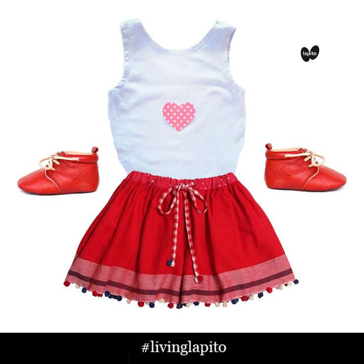 Be my Valentine? Ruby Lapito Baby shoes pairs so well with Phoenix Baby Creations top and Pero reversible skirt.