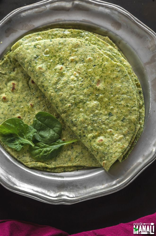 Homemade spinach tortillas are so much better than the store bought stuff! Use them to make burritos, wraps and much more! Find the recipe on www.cookwithmanali.com