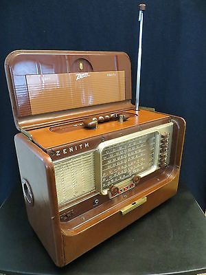 VINTAGE-1950s-ZENITH-SHORTWAVE-BROWN-LEATHER-ANTIQUE-TRANSOCEANIC-RADIO