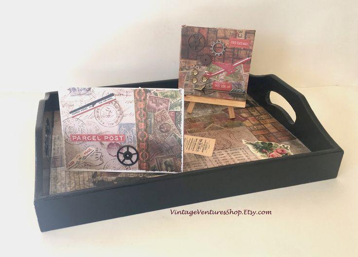 3 piece gift set with handpainted tray, handmade card, and mini collage via #VintageVenturesShop #Etsy to buy click image Decoupage Wooden Tray, Collaged Vintage Style Papers by #VintageVenturesShop #Etsy to buy click image #WoodTray #TimHoltz #VintageStyleTray #BlackServingTray #GiftForHim #GiftsForMen #ManCave #MensAccessories #DresserTray #HandpaintedWoodTray #HandmadeTray #RusticHomeDecor #RetroHomeDecor #FathersDay #FathersDayGift #Steampunk #SteampunkArt #Handmade #MiniArt