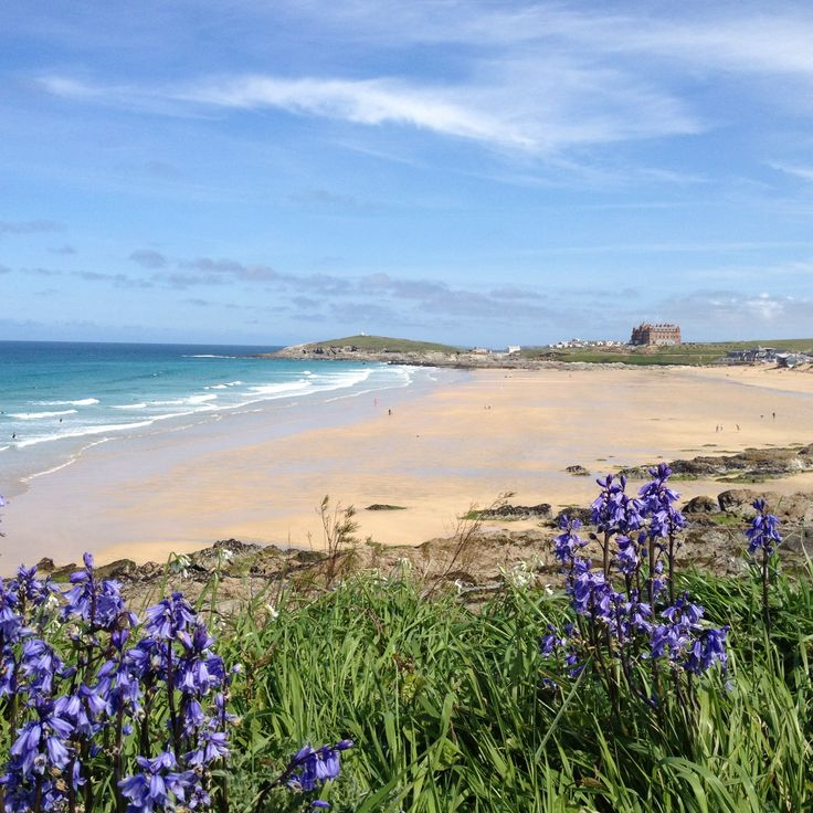 Lovely photograph with the bluebells in the foreground looking over Fistral Bay towards the Headland Hotel, taken from outside our development Fistral Beach.