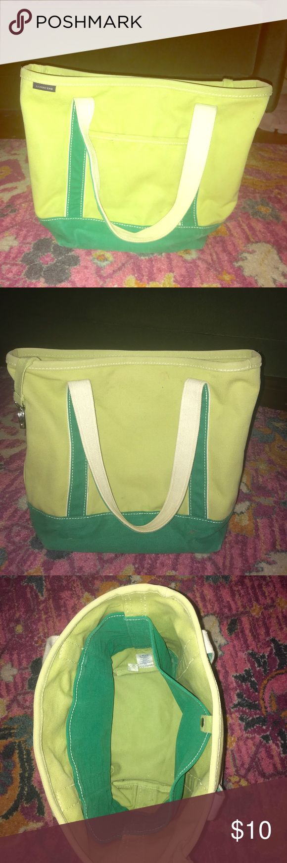 Lands End canvas tote bag green color block Large canvas bag from Lands End in Good, lightly used used condition from pet and smoke free home. Lands' End Bags Totes