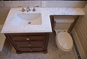 bathroom vanity top extended over toilet - Google Search