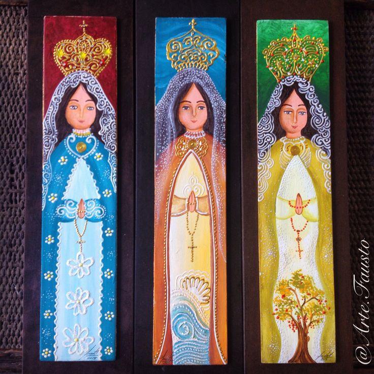 Cuadros: Virgen del Valle (Pintura al frío sobre madera - chapa sobre MDF 45X11cm) @Arte.Fausto