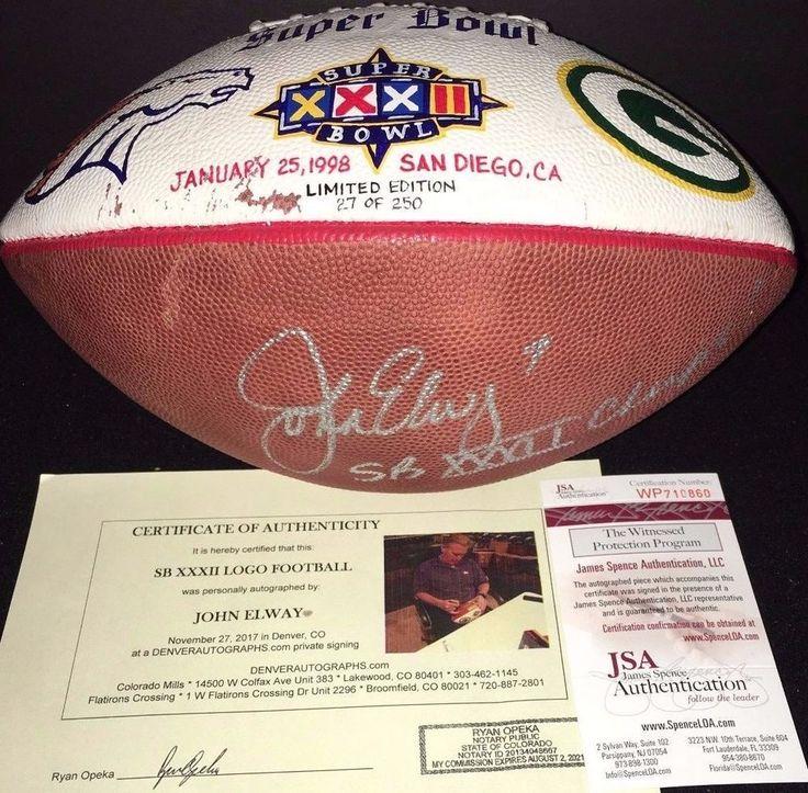 John Elway Signed 1998 Super Bowl XXXII Hand Painted Football JSA LE /250 RARE #DenverBroncos