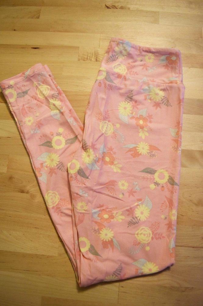 Lularoe Os Leggings- Whimsical Pink with Yellow Flowers and Grey Leaves UNICORN #Lularoe