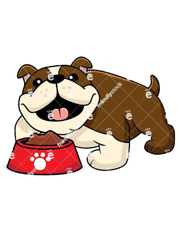 Adorable Bulldog With A Bowl Of Dog Food Bulldog Puppies Food