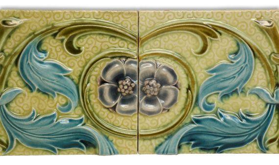 Vintage green and blue floral tile set by oldegoodthings on Etsy