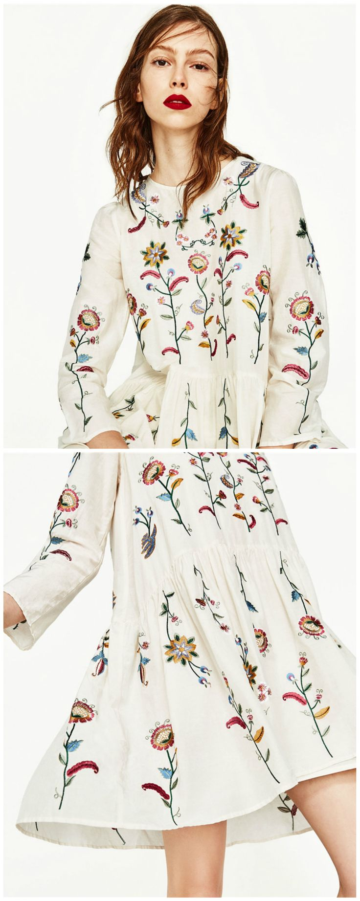 A White Embroidery Dress is now available at . Inspired by the boho chic style trend. Fashion trend and styles from hippie chic, modern vintage, gypsy style, boho chic, hmong ethnic, street style, geometric and floral outfits. We Love boho style and embroidery stitches. Hippie girls with free spirit sharing woman outfit ideas and bohemian clothes, cute dresses and skirts.