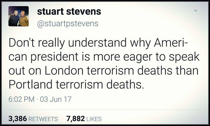 Hmmm, I do. A white supremacist, Trump supporter was the killer in Portland.
