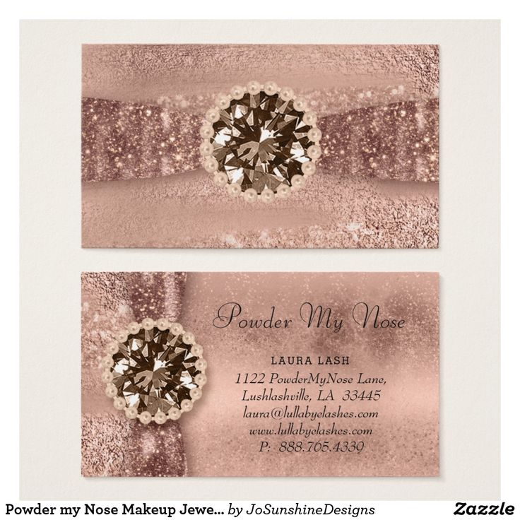 Powder my Nose Makeup Jewelry Fashion Rose Gold Business Card