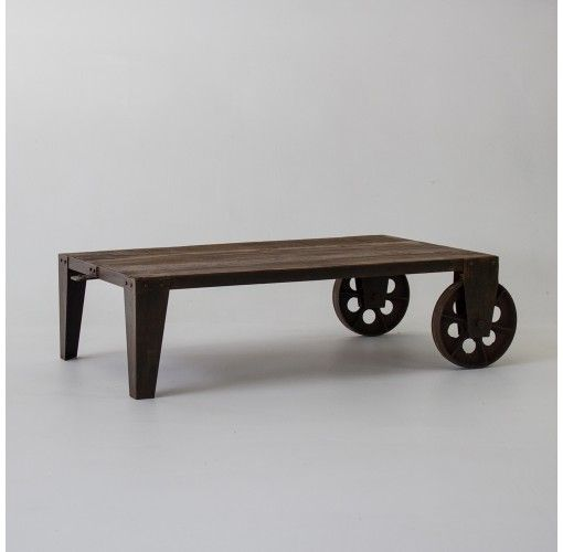 Indian 2 wheeled coffee table - $537. Wheel in some lovely treats for your guests on this sturdy, wheeled coffee table. The recycled timbers used in this table make this a perfect 'eco' choice.