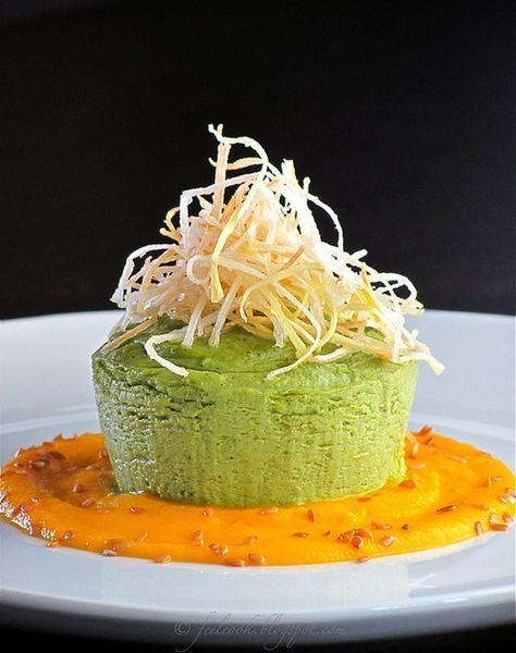 Sformatino di broccoli con crema di carote e porro croccante by FeelCook, via Flickr
