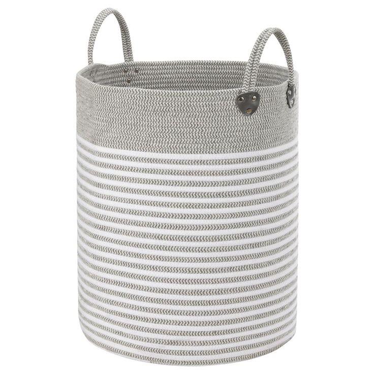 Panier à linge rayé en corde avec poignées