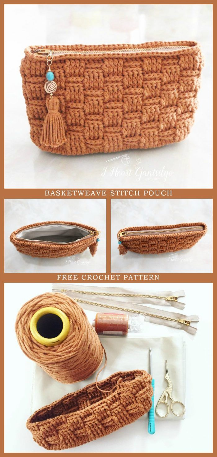 Crochet Basketweave Stitch Pouch