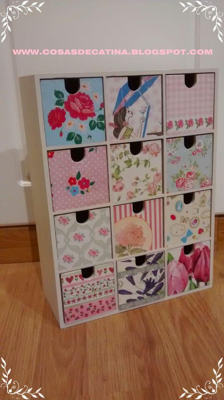 Cosas de Catina: CAJONERA IKEA DECORADA
