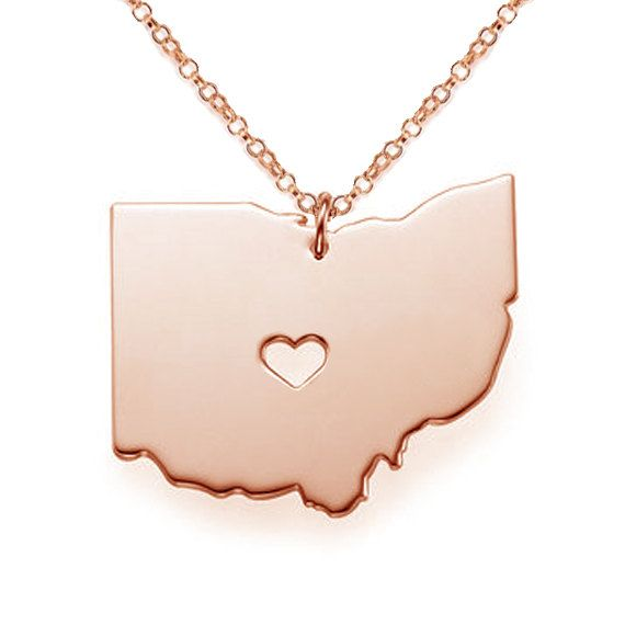 Ohio Map State Charm,Ohio State Necklace,OH State Shaped Necklace with A Heart,Personalized Rose Gold OH State Necklace    Ohio state