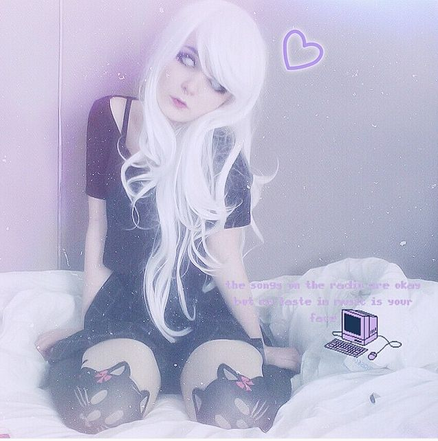 @milkwore - instagram, white hair, wig, kitty socks, car socks, stockings?, dress, black, photo edit, FAV, white eyes, emo, scene, alternative, pastel