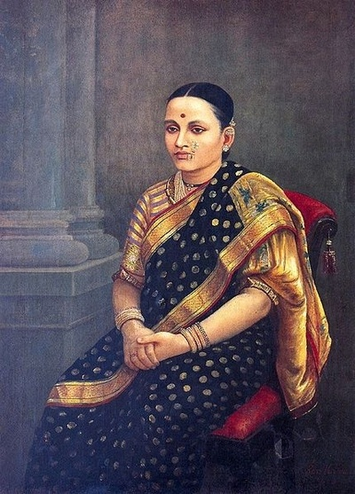 """Lady in the Portrait"" painting by Raja Ravi Varma  -- Maharashtrian bai :-)"