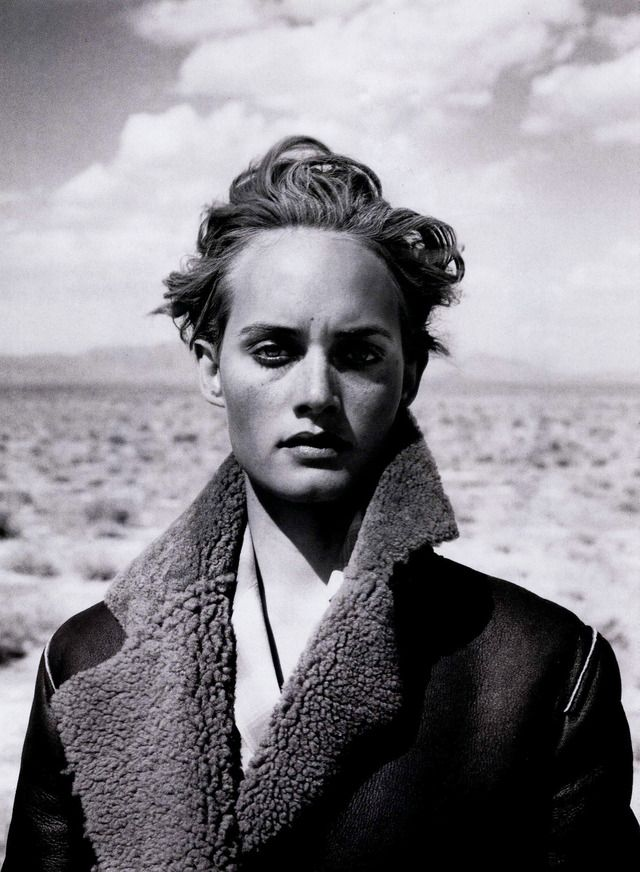 Peter Lindbergh - portrait of Amber Valletta for Harper's Bazaar, January 1995