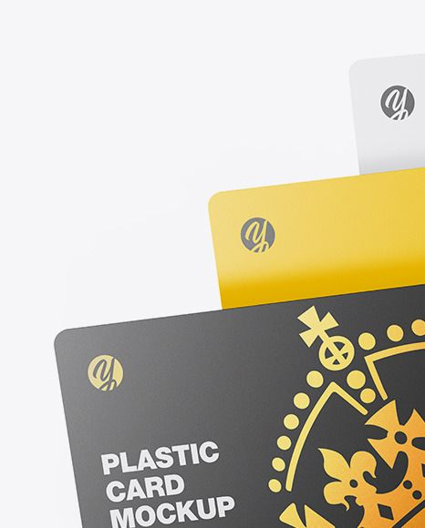 Three Plastic Cards. Present your design on this mockup. Includes special layers…