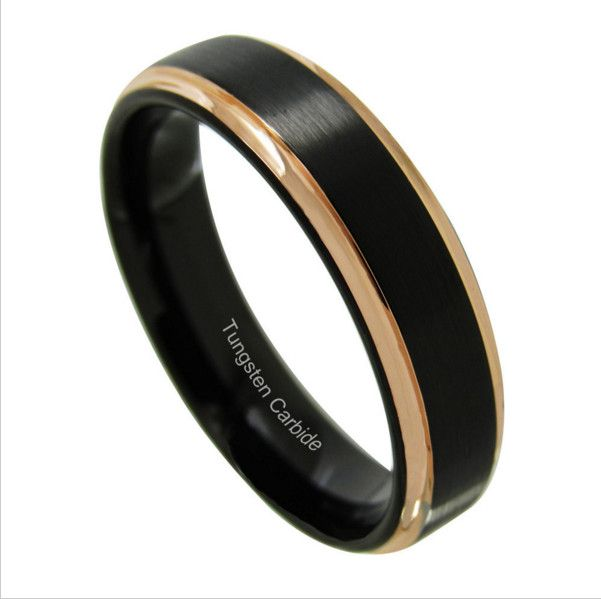 >> Click to Buy << Cheap Mens Wedding Band Two Tone Black Brushed Tungsten Ring Rose Gold Step Edge Engagement Bands For Women 4mm size;5#-13#  #Affiliate
