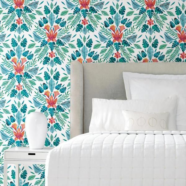 Roommates Cat Coquillette Tropical Vinyl Peelable Wallpaper Covers 28 29 Sq Ft Rmk11391rl The Home Depot Peel And Stick Wallpaper Room Visualizer Dorm Furniture