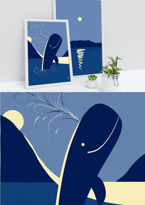 Whale Wall Art Whale Nursery Decor Set Of 2 Nautical Wall Etsy Whale Wall Art Whale Art Print Nautical Art