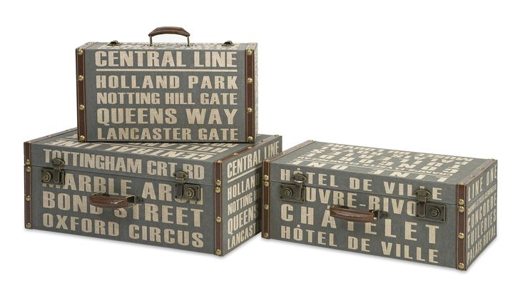 3-Piece Suitcases Storage Box Set