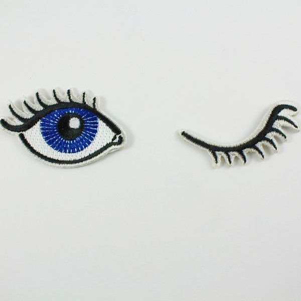 Wink Set of 2 Embroidered Patches Iron-On Appliques Winking Eyes (13 CAD) ❤ liked on Polyvore featuring beauty products