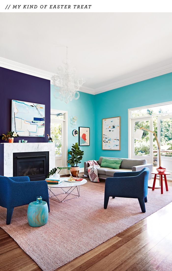 styled by Julia Green and photographed by Armelle Habib - turquoise wall and cobalt blue wall in LR
