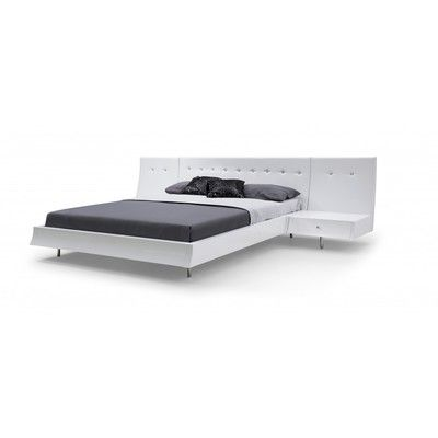 Whiteline Imports BQ1232P-WHT Concavo Bed Queen, white leatherette headboard with crystal buttons, Sideboards and footboard high gloss white, stainless steel legs, with the option of adding panels Behind the night stands
