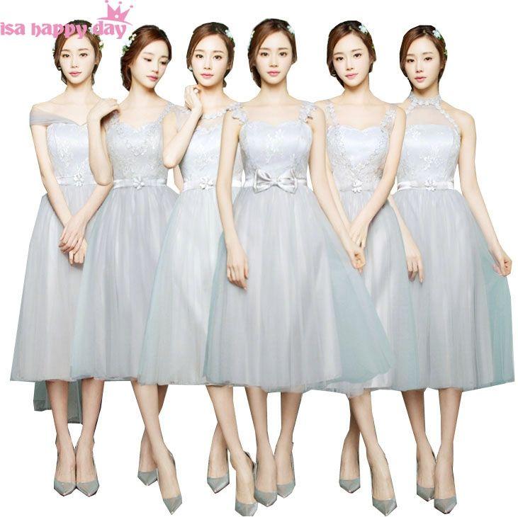 hot cheap gray mid tea length tulle bridesmaid fashion ladies elegant dress  women formal dresses fall 75f55d7054fc