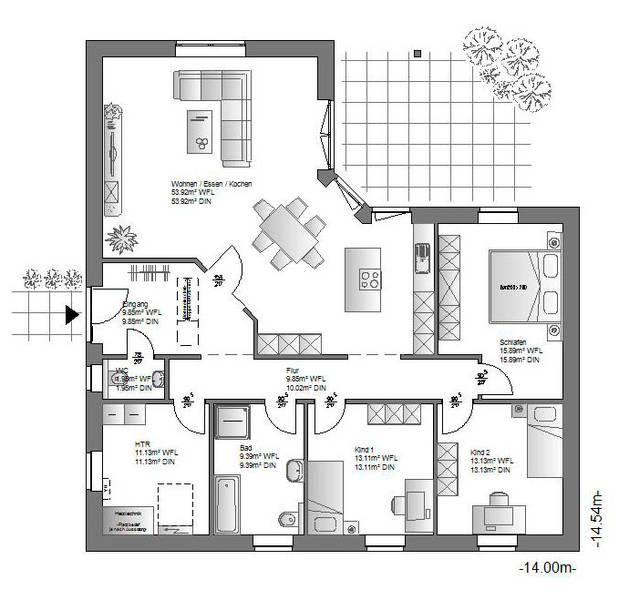 Einfamilienhaus neubau modern grundriss  Die 25+ besten Grundriss bungalow Ideen auf Pinterest | Haus ...