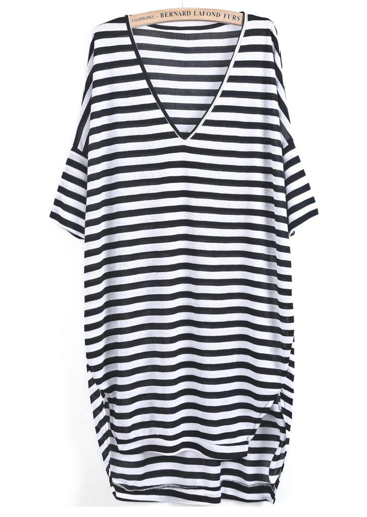 Vestido+suelto+cuello+pico+rayas+-negro+y+blanco+EUR€14.17