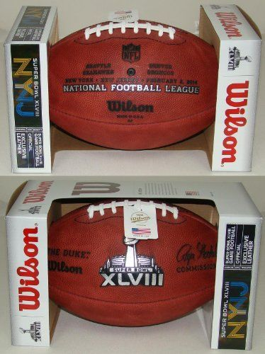 Wilson Super Bowl 48 XLVIII Official NFL Leather Game Football  with Team Names Seattle Seahawks vs Denver Broncos *** Details can be found by clicking on the image.