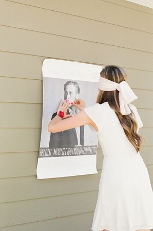 Pin the kiss on the groom, bridal shower game
