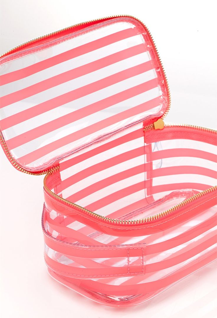 Striped Clear Cosmetic Bag