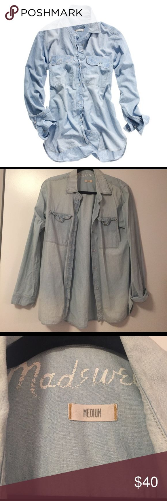 Madewell Chambray Cargo Shirt Perfect condition. Size Medium Madewell Tops Button Down Shirts