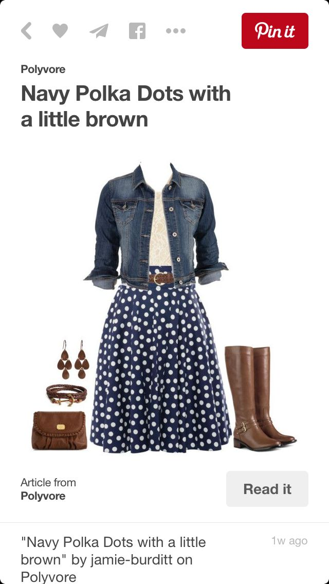 I like the color combinations--- denim with polka dots and brown leather accessories.