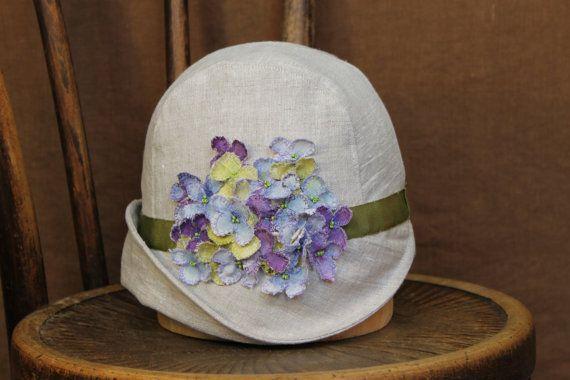 Linen Cloche Hat - summer hats, Large Hydrangea w/ Green Gros Grain Ribbon, Hand Made