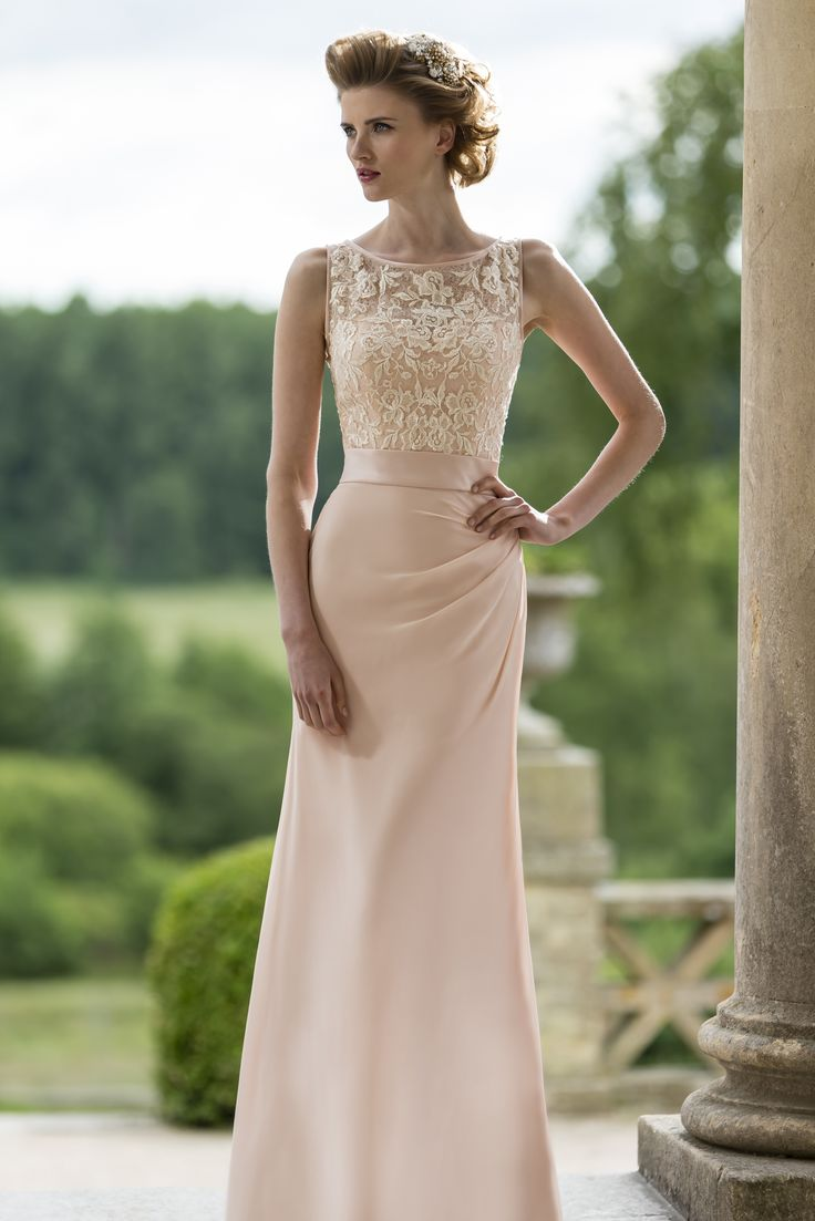 pretty lace and chiffon bridesmaid dress by true bride 2015 collection, style M596 #bridesmaiddress