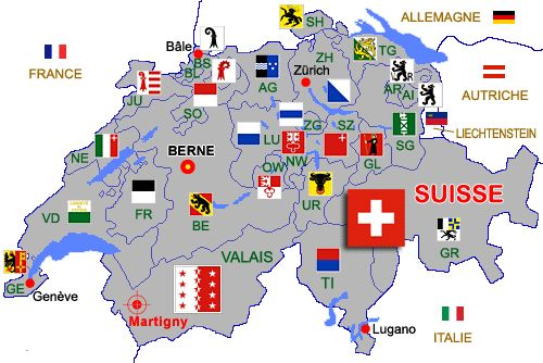 The Cantons of Switzerland. (Same as Counties or states). You know where someone has come from, by their car registration - which always starts with the Canton initials.