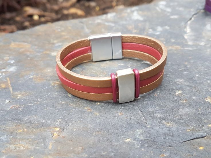 Dark metallic red and gold triple leather bracelet