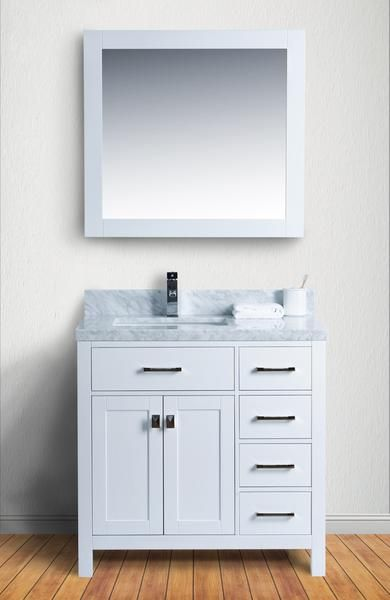 """Abigail 36"""", Naos, Cottage White Bathroom Vanity with 4cm Bianco Carrara Marble Top - The Vanity Store Canada"""